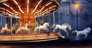 horses leave merry go round