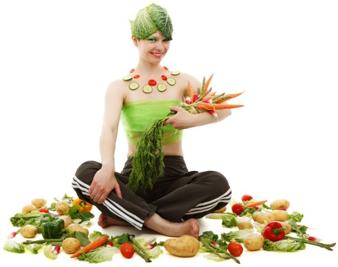 veggie girl sitting pixabay