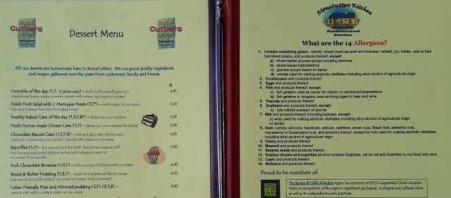 EU food allergens menu
