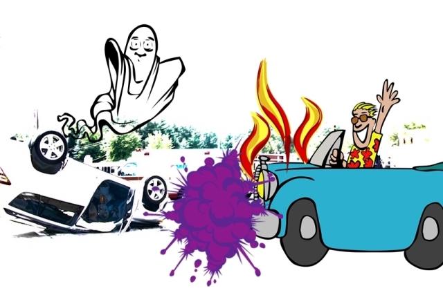 flipped car crash Flickr w fire car pixabay