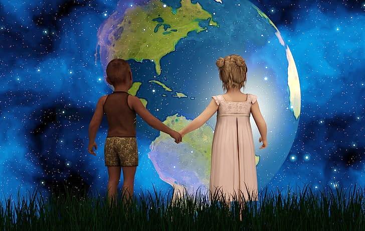 children behold earth n stars PickPik lighter