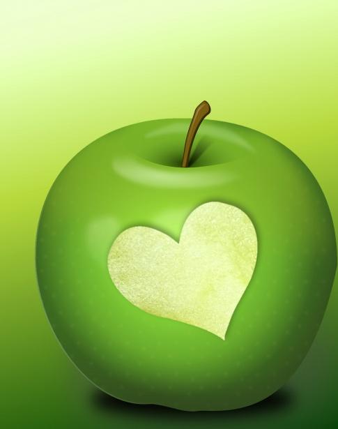 green apple heart PublicDomain